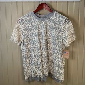 American Threads lace tee